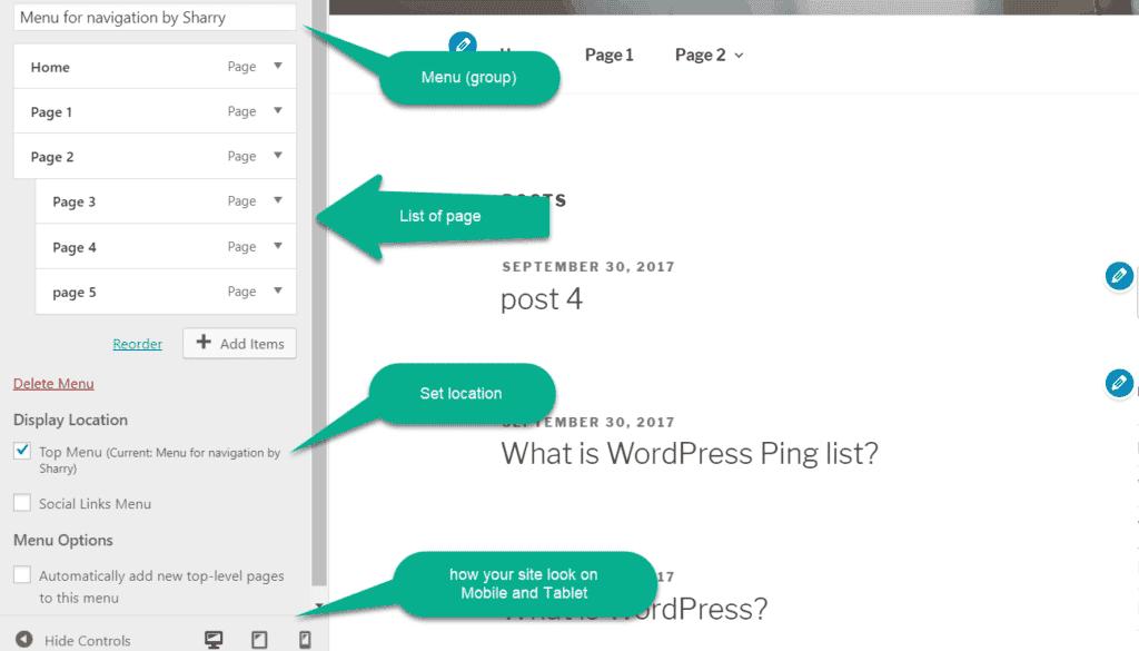 real time change in menu in customizer in wordpress
