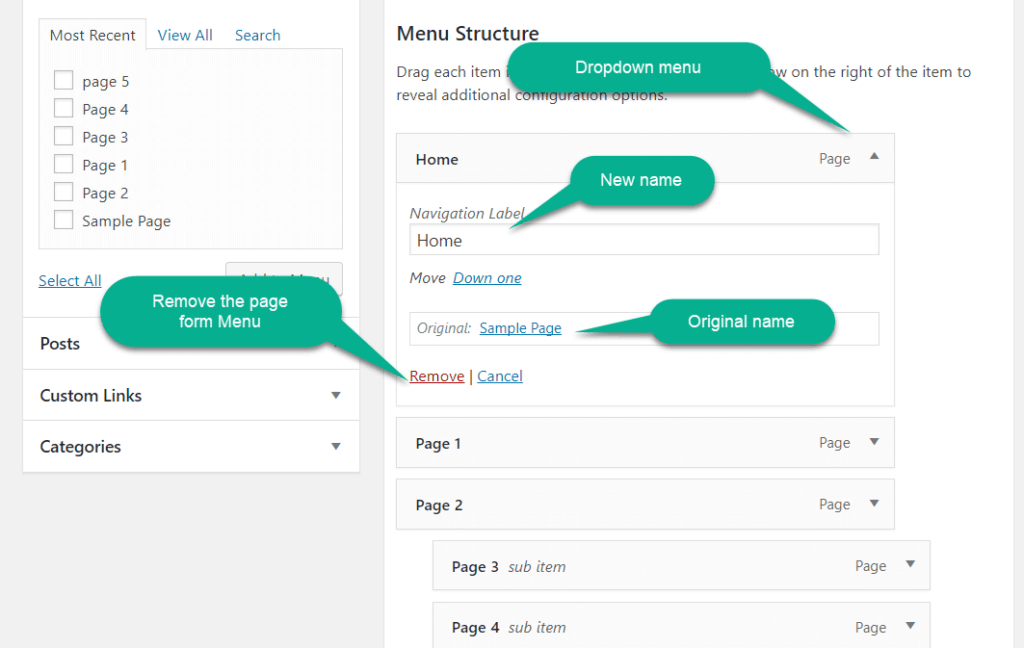 rename the label of the link in WordPress navigation menu