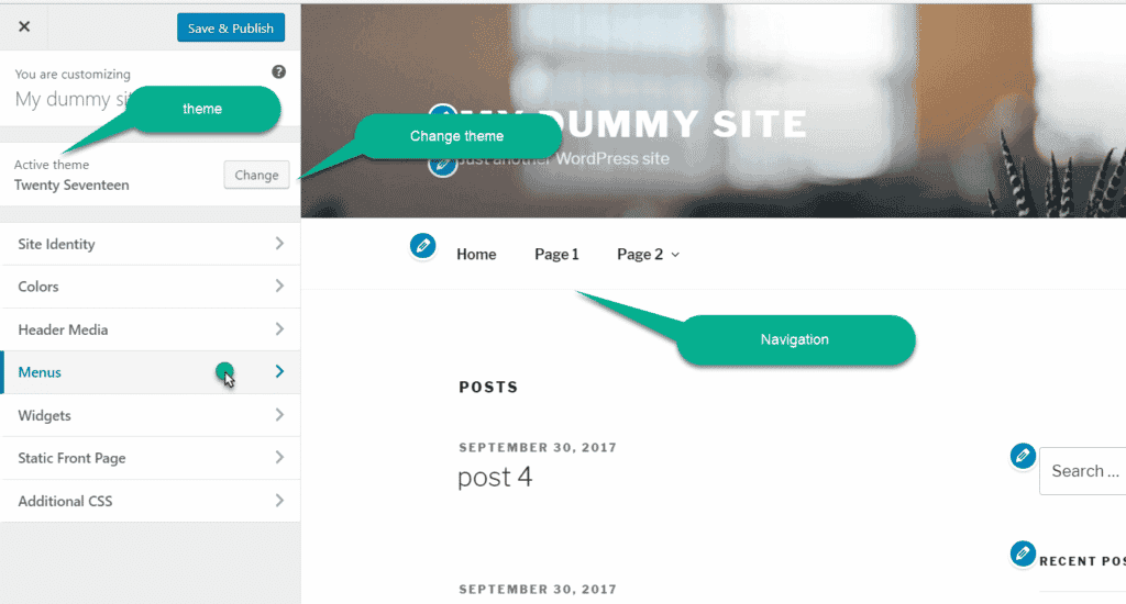WordPress customise for Menu
