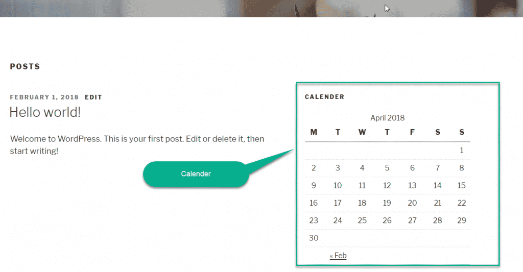 add calendar to WordPress widget
