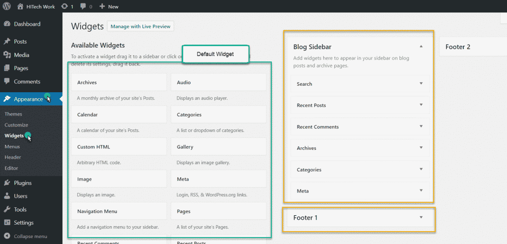 default WordPress widget area in admin area