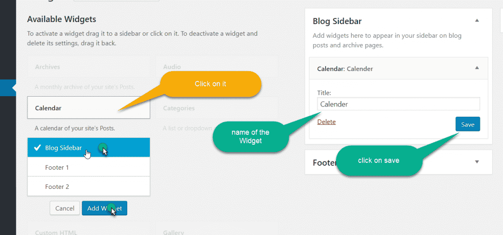 save the widget in wordpress