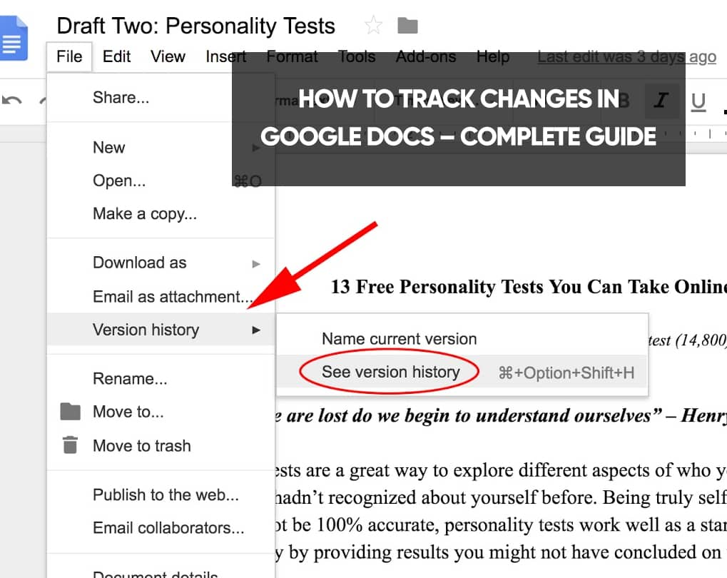 Can You Track Changes In Google Docs