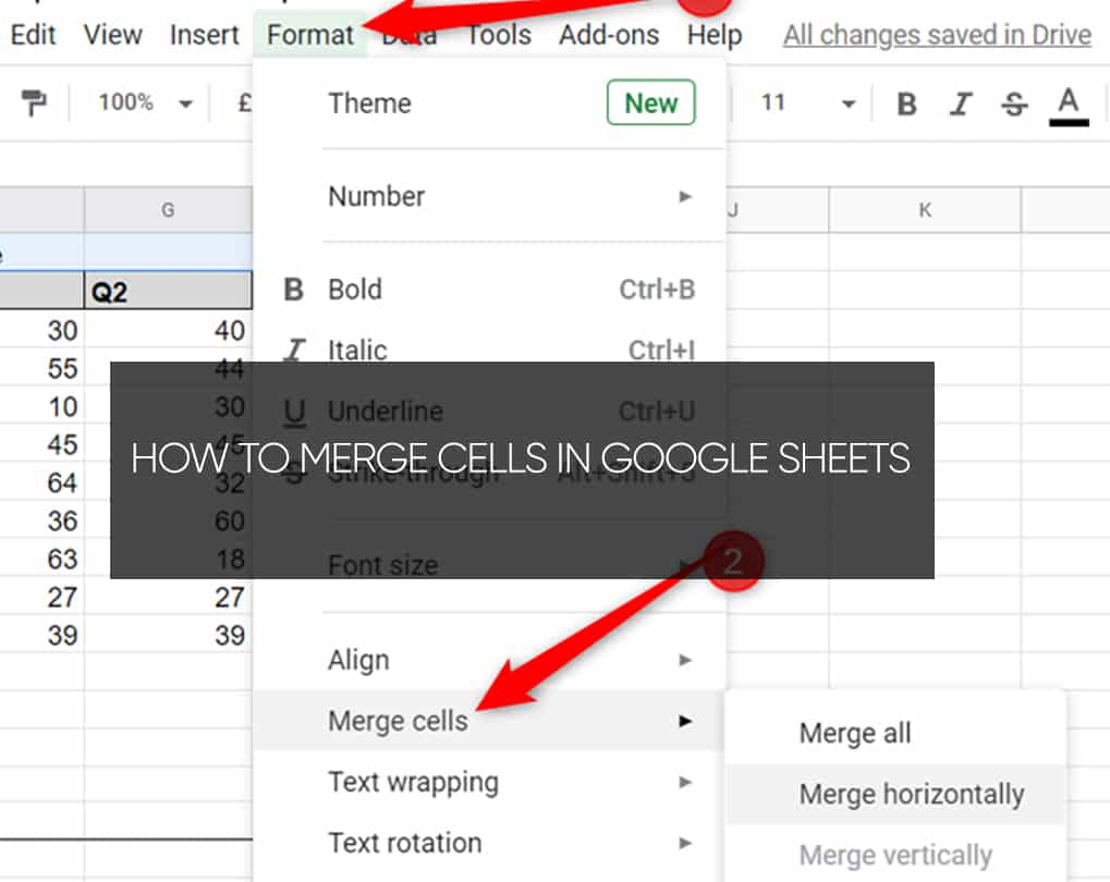 How To Merge 2 Cells In Google Sheets