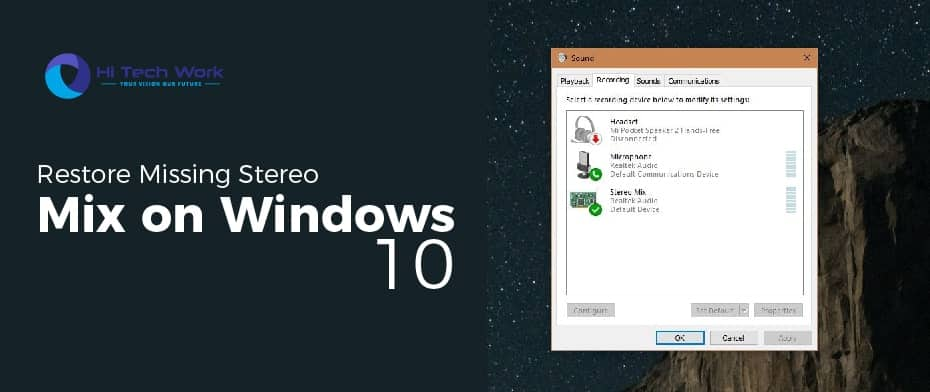 Enable Stereo Mix Windows 10